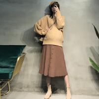 秋冬洋气宽松毛衣两件套孕妇秋装套装时尚款气质淑女针织半身裙