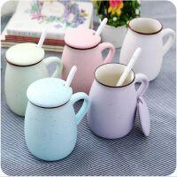 牛奶杯陶瓷杯子带盖勺 马克杯骨瓷咖啡杯 创意情侣水杯