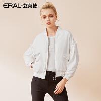 ERAL/艾莱依2018冬季新款休闲印花V领羽绒服女短款617102119