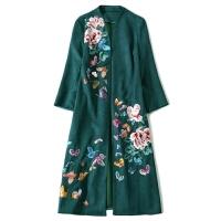 秋冬季民族风女装外套复古刺绣大码时尚胖mm中长款鹿皮绒风衣大衣 绿色