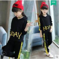 连帽女童运动套装户外新款韩版时尚大儿童休闲百搭哈伦裤两件套女孩潮衣