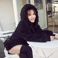 黑色毛绒绒加绒加厚卫衣2017新款女连帽宽松中长款毛茸茸学生外套