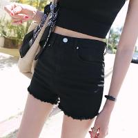 黑色高腰牛仔女夏韩版紧身弹力显瘦大码毛边白色薄款热裤