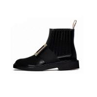 rv水钻方扣短靴子女牛漆皮单靴平底马丁裸靴 黑色方扣