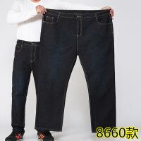 Re超大码男装中老年人特大号爸爸装男士牛仔裤胖子高腰宽松加肥加大超大码肥佬