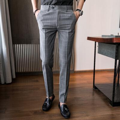 男裤西裤男商务休闲九分裤男士韩版格子修身小脚时尚潮流免烫西装长裤 发货周期:一般在付款后2-90天左右发货,具体发货时间请以与客服协商的时间为准