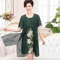 妈妈装夏装连衣裙雪纺套装显瘦2017新款潮中年女装短袖两件套裙子