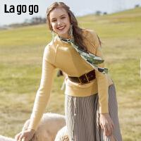 Lagogo/拉谷谷2019冬季新款半高领套头短款学院风时尚针织衫女ICMM439B34