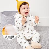 【满200减40/满300减80】迷你巴拉巴拉婴儿男女宝宝内衣上衣保暖上装2018秋冬加厚童装新品