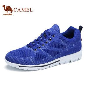 【跨店每满200减100】camel骆驼男鞋 新品 飞织跑步鞋运动休闲鞋 透气网面系带健步鞋