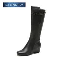 STONEFLY/斯通富来冬季真牛皮休闲长靴内增高坡跟长靴女士高筒靴SD44110603