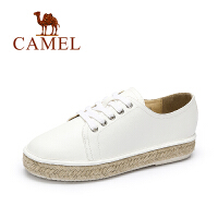 Camel/骆驼女鞋韩版休闲百搭系带低跟舒适渔夫编织底单鞋