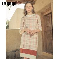 Lagogo2019秋季新款针织格纹高腰包臀半身裙女显瘦中裙ICBB207D52
