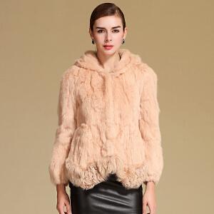 CITYSAILOR 冬装清仓甩卖女士獭兔毛皮草外套女装拼接羊羔毛连帽短款皮草长袖上衣