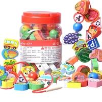 儿童玩具益智大号串珠积木木质宝宝穿珠子1-2-3周岁婴儿锻炼动手