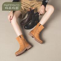 【双十一特惠,下单立享7折】玛菲玛图马丁靴女英伦风2019新款女靴子真皮靴头层牛皮皮带扣帅气机车短靴16251-5