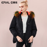 ERAL/艾莱依羽绒服女短款2018秋冬新款绣花大毛领外衣617102063