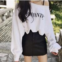 韩国春秋字母宽松圆领套头卫衣性感气质斜肩露肩泡泡袖学生上衣女 白色 加绒 S 85-114斤