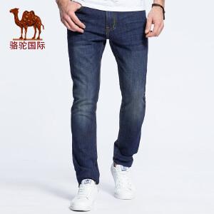 骆驼男装 2017春季新款时尚蓝色直筒商务休闲青年牛仔裤男长裤