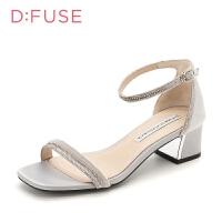 【3折叠加60元券】迪芙斯(D:FUSE)专柜同款一字带粗跟凉鞋 DF82115327 浅灰色 36