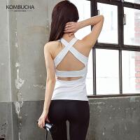 【到手价169】Kombucha瑜伽健身服2018新款女士速干透气紧身弹力显瘦两件套性感背心蜜桃九分裤套装HXF33901T2