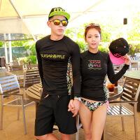 新款分体泳衣女长袖防晒衣两件套韩国沙滩情侣套装男士泳裤潜水服