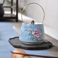 提梁壶茶杯品茗杯功夫茶具青花陶瓷茶壶扒花茶壶手绘粉彩描金茶具