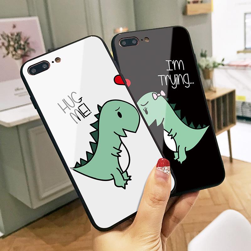 恐龙爱心苹果6splus手机壳iPhone7保护套六硅胶包边7p玻璃壳8男情侣款女6卡通可爱X防摔网红同款七潮款8plus