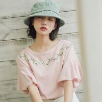 衬衫 女士宽松刺绣喇叭袖T恤女式学生棉质2019夏季新款韩版女装夏凉衫