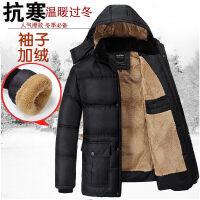 冬季中年爸爸冬装外套中老年棉衣男装反季加绒加厚老年人棉袄