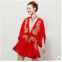 波西米亚沙滩裙罩衫白色薄款遮阳衣沙滩衣红色性感短裙宽松女套头可礼品卡支付