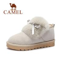 camel骆驼女鞋 新款 韩版雪地靴短靴保暖兔毛拼磨砂 面包靴