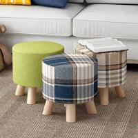 包邮 宜家风格实木布艺时尚换鞋凳圆凳矮凳创意穿鞋凳布艺沙发凳板凳小凳子