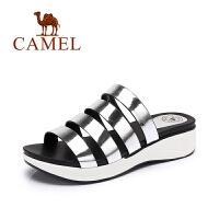 Camel/骆驼女鞋 夏季新款 简约摇摇厚底拖鞋镜面欧美罗马凉鞋