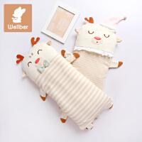 威尔贝鲁 小鹿款婴儿长枕宝宝卡通枕头 婴儿可脱胆造型枕