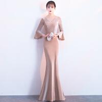 鱼尾晚礼服2018新款修身宴会长款高贵性感优雅显瘦公司年会连衣裙