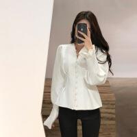 新款优雅修身女衬衫韩范洋气时尚长袖v领白衬衫2018新款女潮裙摆收腰修身灯笼袖上衣 白色