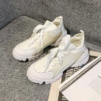 pu皮系带2019时尚高帮厚底休闲运动跑鞋松糕女鞋
