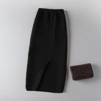 春秋弹力修身羊毛针织半身裙中长款铅笔包臀裙高腰长裙开叉一步裙