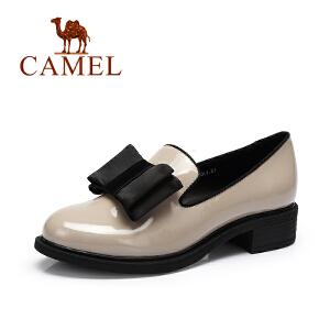 Camel/骆驼女鞋  时尚休闲单鞋舒适圆头蝴蝶结女鞋