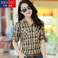 BRIOSO 女士纯棉格子衬衫 秋装新款韩版百搭时尚修身长袖衬衫 大码基础女装衬衣 WE3295