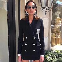 Re新女士外套2018秋冬新款女装 明星珊珊同款赫本风气质修身黑色西装 外套 黑色