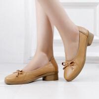 秋款工装鞋女单鞋职业皮鞋优雅蝴蝶结工作通勤鞋妈妈鞋小皮鞋
