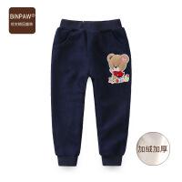 【200-100】binpaw童装女童冬装棉裤 2017新款加厚保暖儿童运动裤子 针织长裤