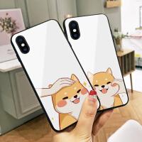 卡通柴犬苹果6plus手机壳iphoneX玻璃xsmax新款可爱7硅胶软边8plus全包硬壳8情侣xr潮款男女6s个性
