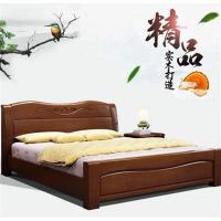 先创XC-C780中式橡木床1.5米实木床(含2个床头柜+席梦思床垫)