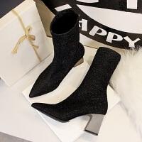 欧美秋冬时尚袜鞋尖头闪亮片袜靴女靴子显瘦百搭银色粗跟短靴 黑色 单里