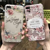 【支持�Y品卡】日�n�O果iPhone6plus硅�z手�C��6s浮雕硅�z保�o套�r尚玫瑰花�y�
