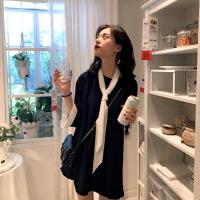 2018秋女士连衣裙2018新款秋装韩版气质显瘦chic小黑裙子sukol裙imi 黑色