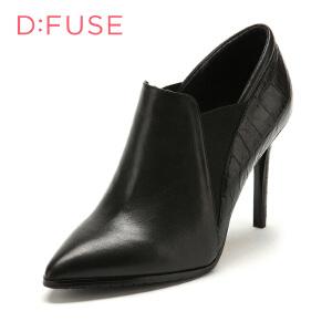【3折到手价149.7元】迪芙斯(D:FUSE)女鞋 牛皮/羊皮革/牛毛皮革细跟尖头时尚单鞋 DF53114052